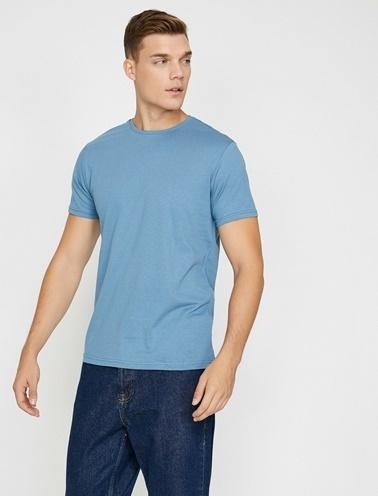 Koton Bisiklet Yaka T-Shirt Mavi